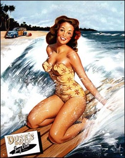 surfing girl pinup