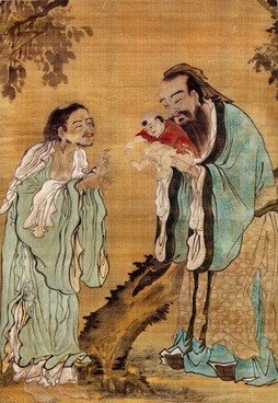 Confucius presents baby Buddha to Lao Tzu - Tang Dynasty painting